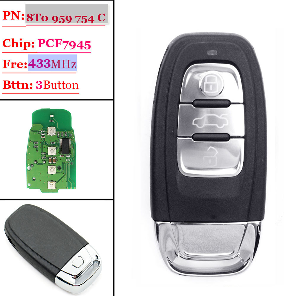 3 Button Smart Card (8T0 959 754C)For Audi 433MHZ Excellent Quality