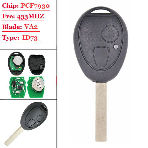 2 Button Remote Smart Car Key 433Mhz ID73 Chip Uncut Blade For BMW Mini for Cooper 2002 2003 2004 2005 R50 MG ZT ZR ZS Rover 75