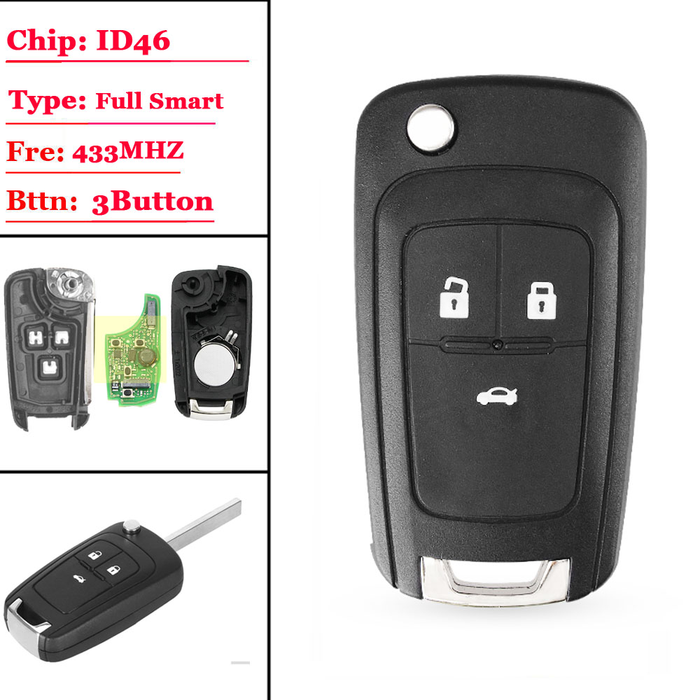 3 Button chevrolet smart keyless-g0 key with ID46 chip 433mhz