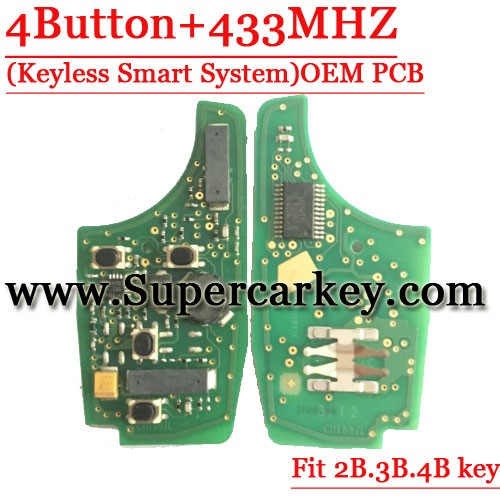 Genuine Remote PCB 4 Button For Chevrolet  Flip Key 433MHZ