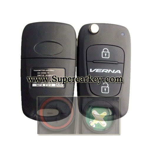 Genuine 3 button flip remote key For  Hyundai  Verna 2 with 433MHZ
