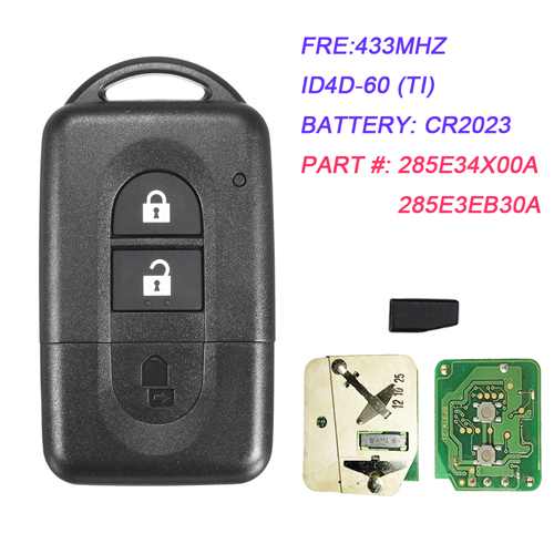 2 Button Remote Smart Card  433MHZ With 4D-60 Chip for Nissan