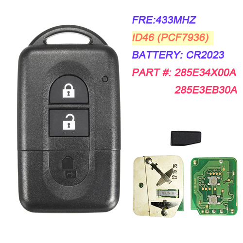 2 Button Remote Smart Card  433MHZ With 46 Chip for Nissan