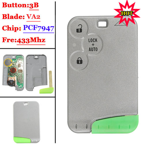 3 Button PCF7947  Smart Card For Renault Laugna