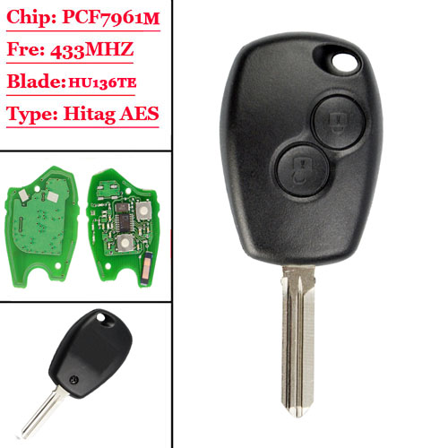 2 Buttons Remote Auto Key 433mhz With PCF7961M HITAG AES Chip for Renault HU136TE NO LOGO