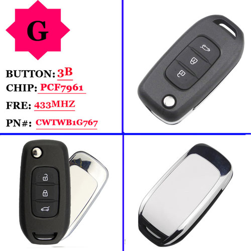 New arival genuine  3 button remote key 433MHZ  with PCF7961m chip for Renault