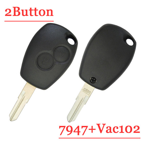 2 Button Remote Key With VAC102 For Renault PCf7947 Round Button