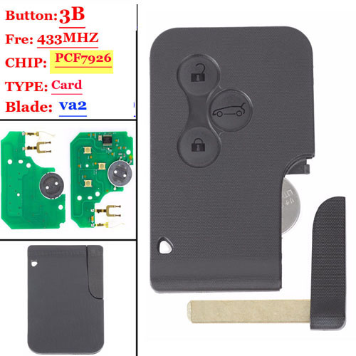 After market 7926 Chip for 3 Button Megane Card