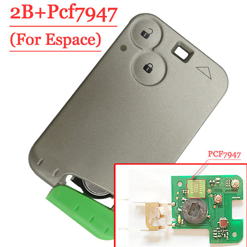 2 Button Remote Card PCF7947 Chip For Renault Espace 433MHZ