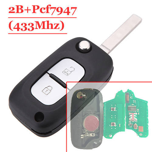 2 Button Remote Flip Key With PCF7947 Chip For Renault Clio 433MHZ