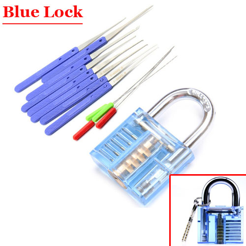 Blue Transparent Practice Lock With Broken Key Extractor 12 in 1 kit