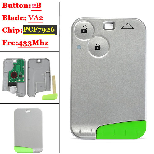 2 Button PCF7926 remote card for renault Laguna Card 433MHZ